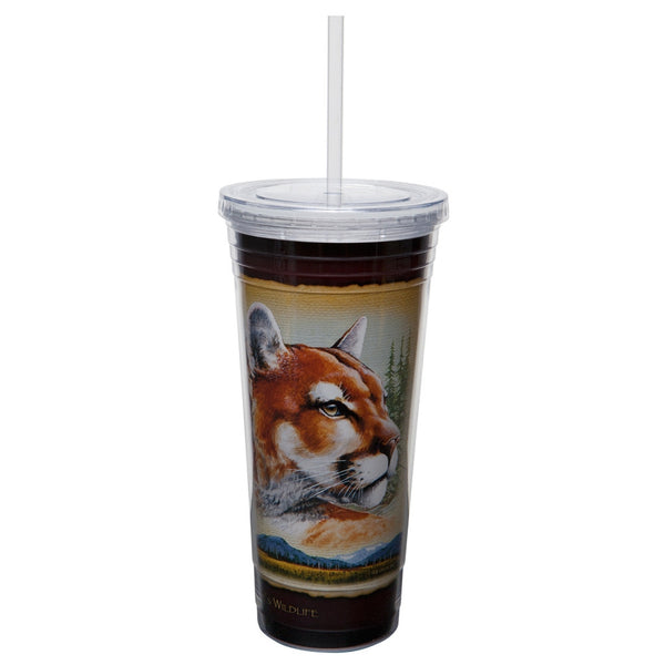 Mountain Lion Double-Wall Insulated Acrylic Tumbler