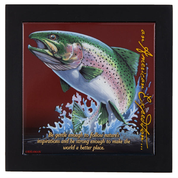 Rainbow Trout Wood Framed Trivet