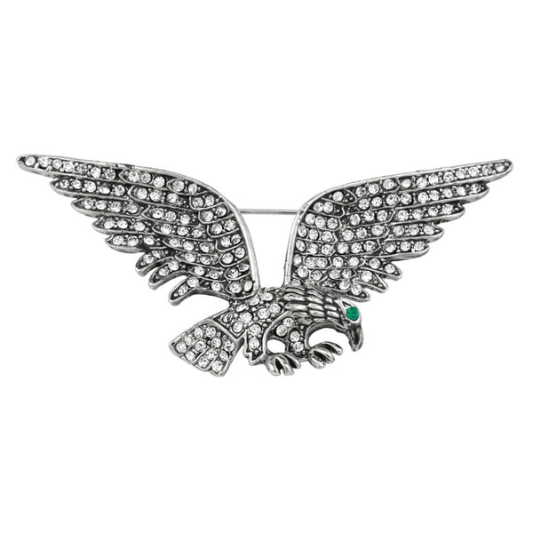 Eagle Jeweled Silver Plated Pin
