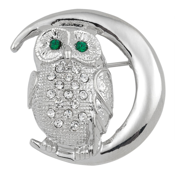 Owl On The Moon Silver Jeweled Bar Pin