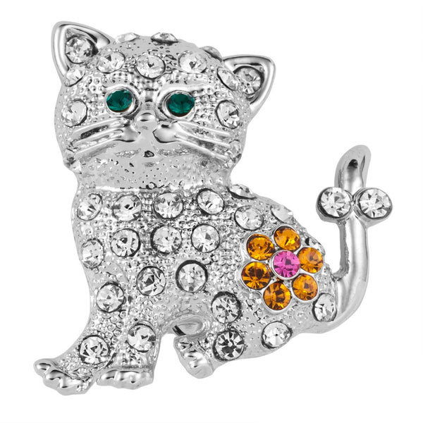 Kitten With Flower Silver Jeweled Bar Pin