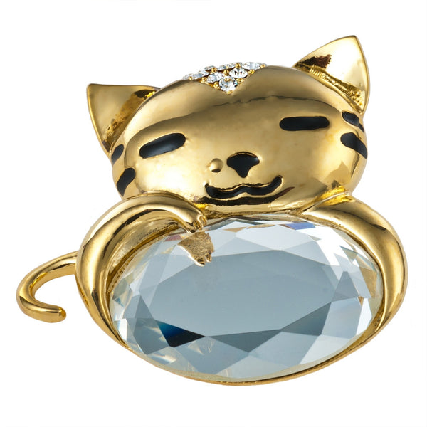 Sleepy Kitty Gold Jeweled Bar Pin