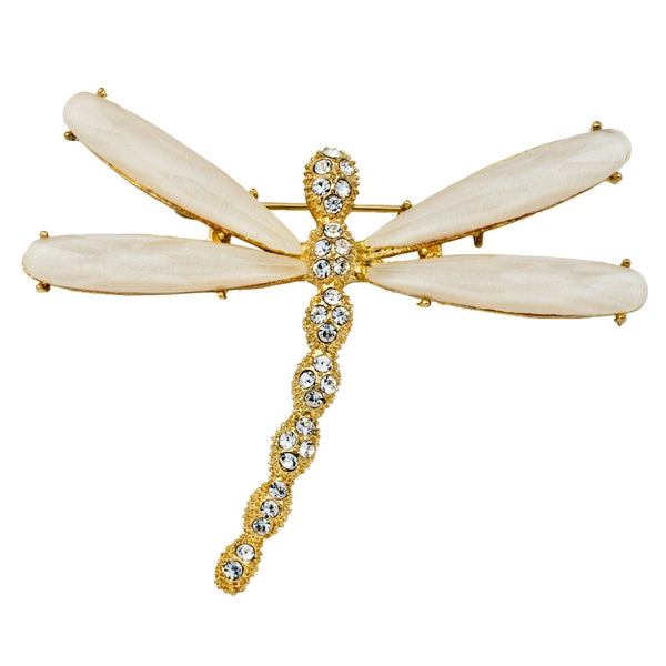 Dragonfly Jeweled Gold Bar Pin