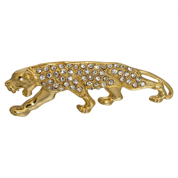 Panther Growl Jeweled Gold-Tone Pin