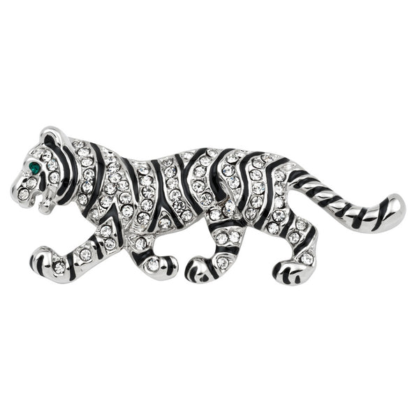 Jeweled Silver Tiger Walking Bar Pin