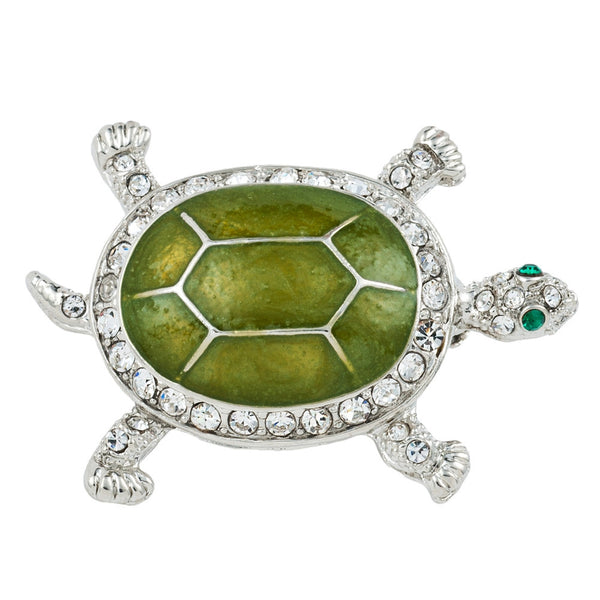 Green Turtle Jeweled Silver Pin
