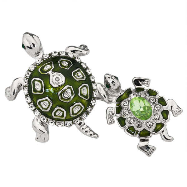Turtle With Baby Jeweled Silver Bar Pin