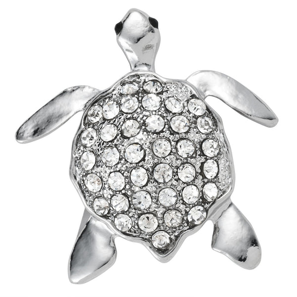 Silver Turtle Jeweled Back Bar Pin
