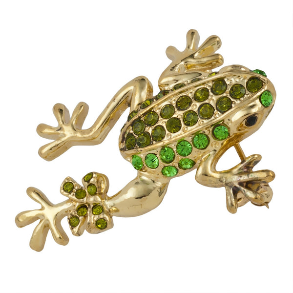 Green Frog with Bow Jeweled Gold-Tone Pin