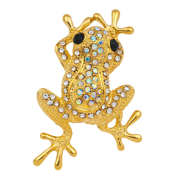 Small Frog Jeweled Gold Bar Pin