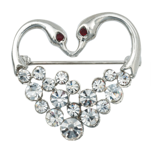 Swan Jeweled Silver Heart Bar Pin