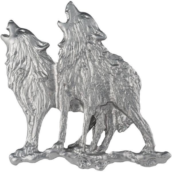 Howling Wolves Silver Bar Pin