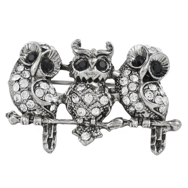 Silver Owls Perched Bar Pin