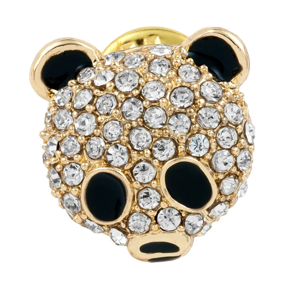 Jeweled Panda Gold Clutch Pin