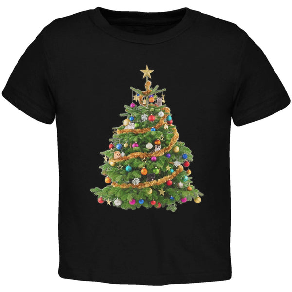 Cats In Christmas Tree Black Toddler T-Shirt