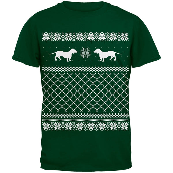 Dachshund Ugly Christmas Sweater Green Youth T-Shirt