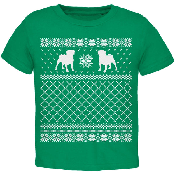 Pug Ugly Christmas Sweater Green Toddler T-Shirt