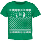 Saint Bernard Ugly Christmas Sweater Green Toddler T-Shirt