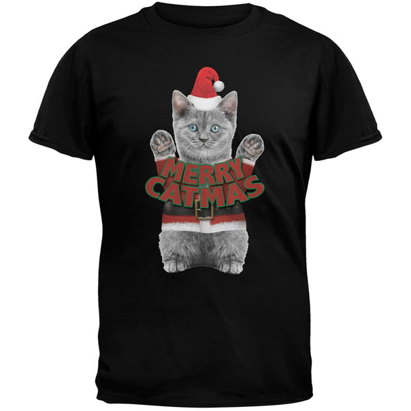 Merry Catmas Santa Christmas Cat Black T-Shirt