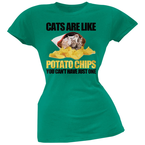 Cats Are Like Potato Chips Juniors Green T-Shirt