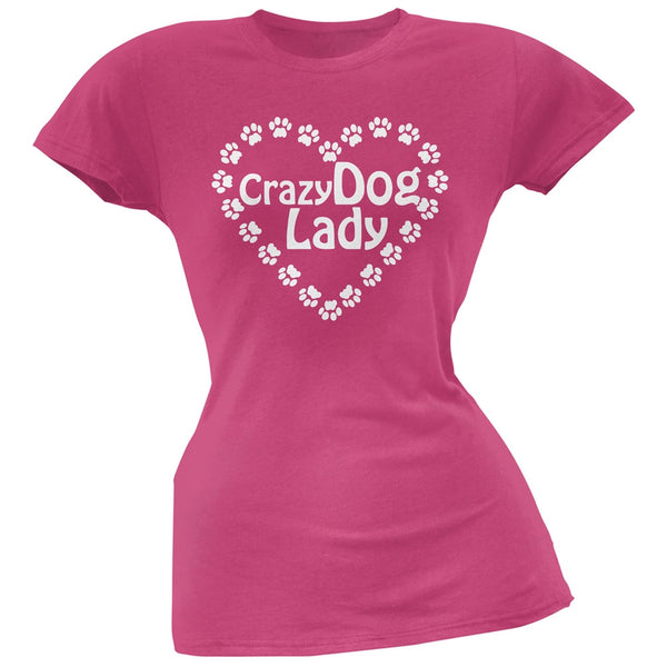 Crazy Dog Lady Paw Heart Pink Soft Juniors T-Shirt