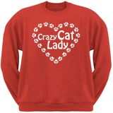 Crazy Cat Lady Paw Heart Black Adult Pullover Hoodie