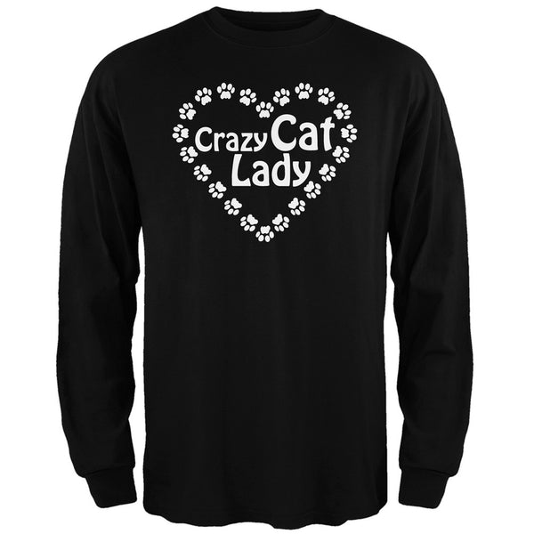 Crazy Cat Lady Paw Heart Black Adult Long Sleeve T-Shirt