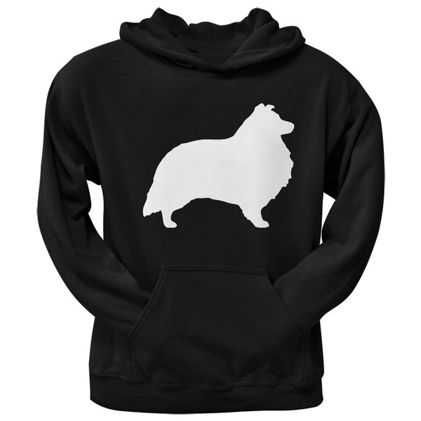 Sheltie Silhouette Black Adult Pullover Hoodie