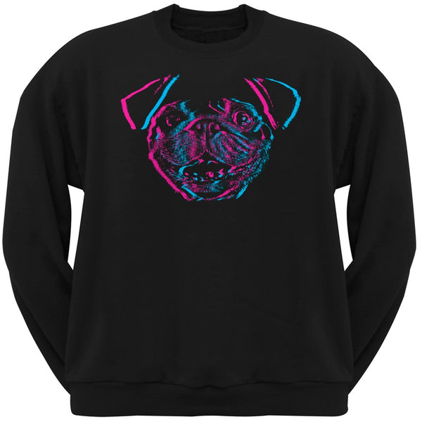3D Pug Face Black Adult Pullover Hoodie
