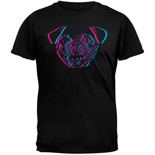 3D Pug Face Black Adult T-Shirt