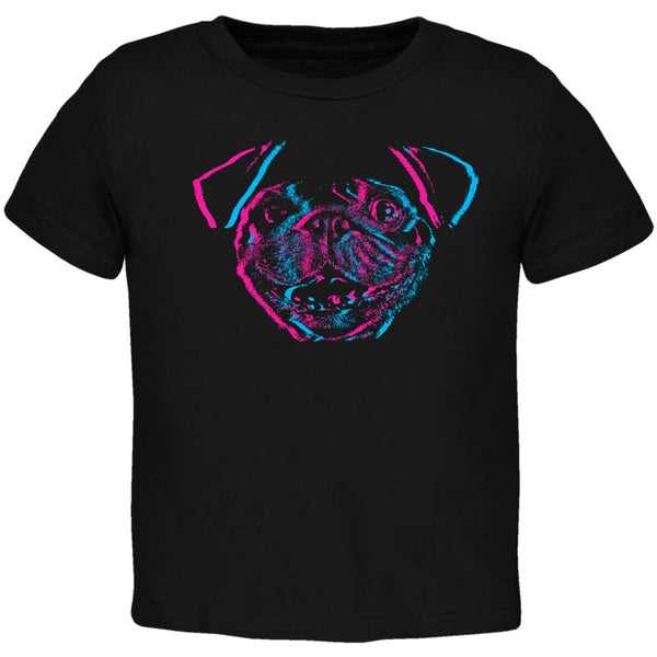 3D Pug Face Black Toddler T-Shirt