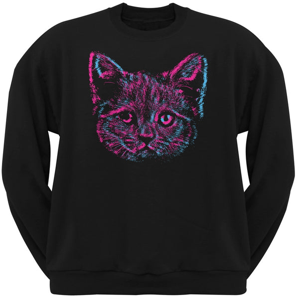 3D Cat Face Black Adult Pullover Hoodie
