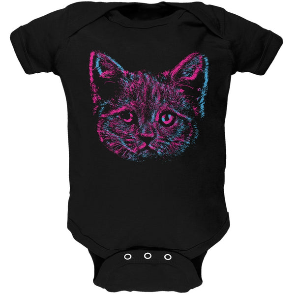 3D Cat Face Black Baby One Piece