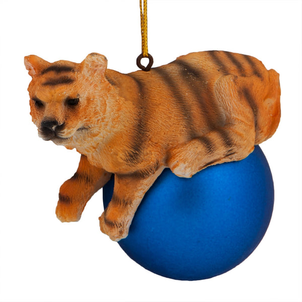 Tiger on Blue Ball Christmas Ornament