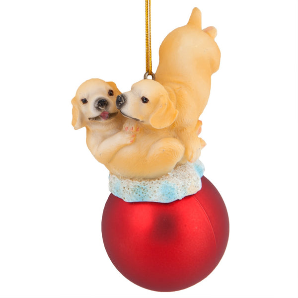Puppies On Red Ball Christmas Ornament