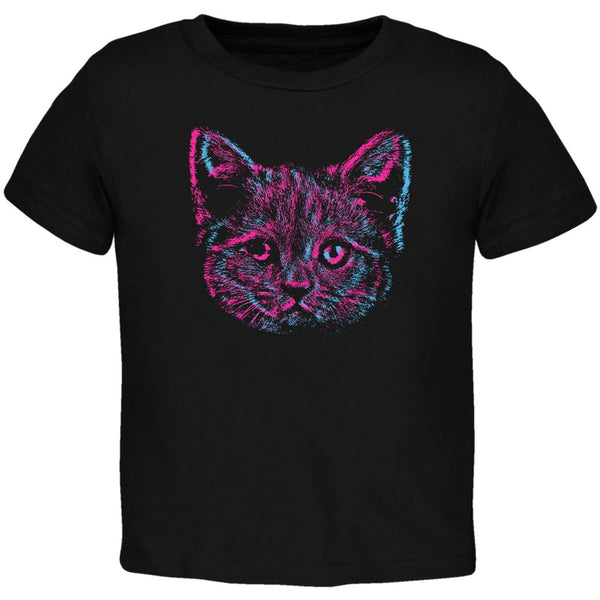 3D Cat Face Black Toddler T-Shirt
