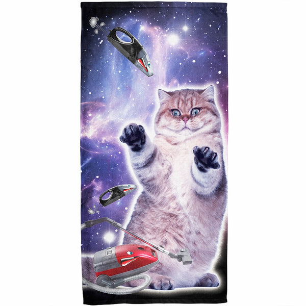 Galaxy Cat Vaccuum Attack Terrycloth Towel