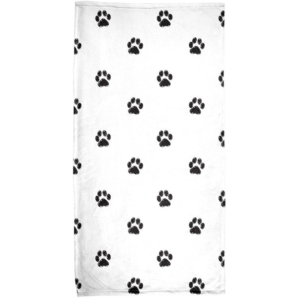 Puppy Paws Sublimated Plush Beach Towel