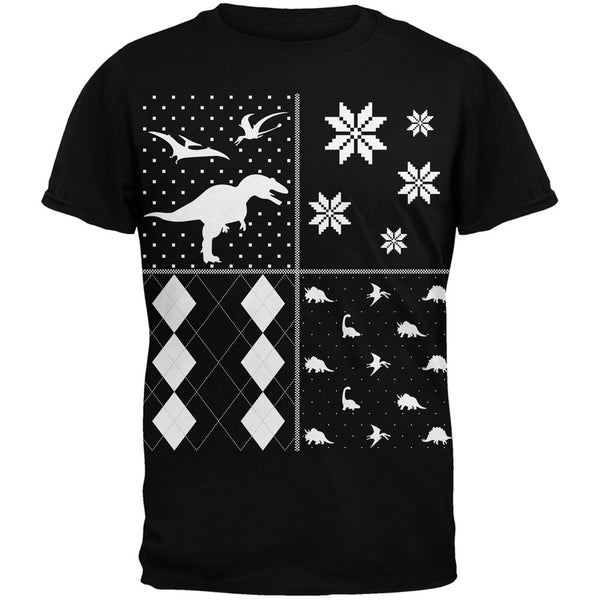 Dinosaurs Festive Blocks Ugly Christmas Sweater Black Adult T-Shirt