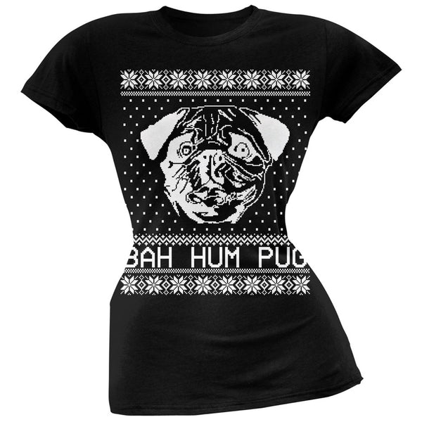Bah Hum Pug Ugly Christmas Sweater Black Soft Juniors T-Shirt