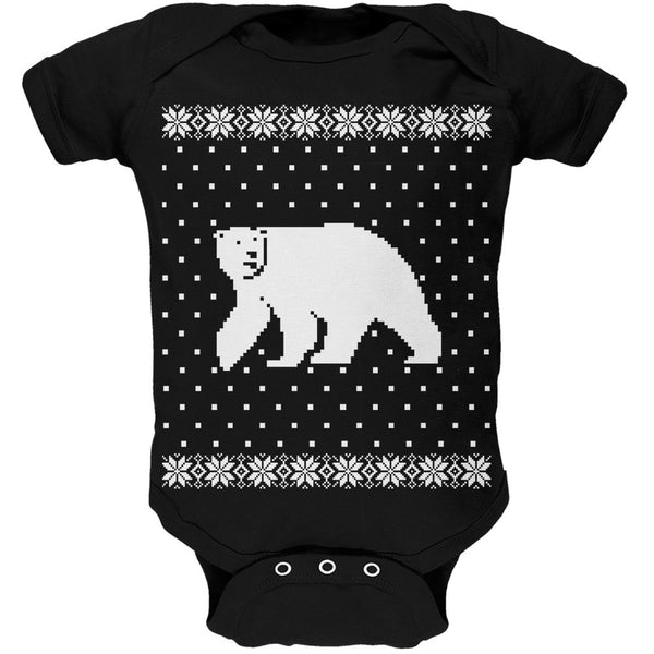 Big Polar Bear Ugly Christmas Sweater Black Soft Baby One Piece