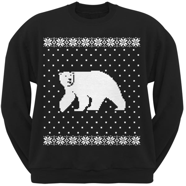 Big Polar Bear Ugly Christmas Sweater Black Crew Neck Sweatshirt