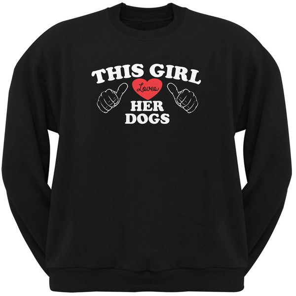 Valentine's Day - This Girl Loves Her Dogs Black Adult Crew Neck Sweatshirt