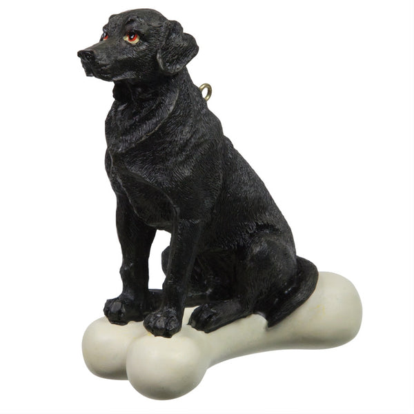 Black Labrador Retreiver on Bone Ornament