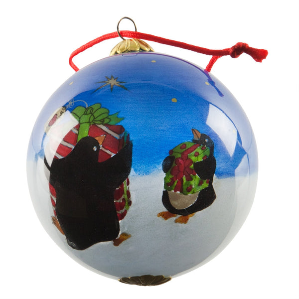 Penguins with Presents Glass Ball Ornament
