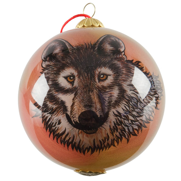 Wolf Face Glass Ball Ornament