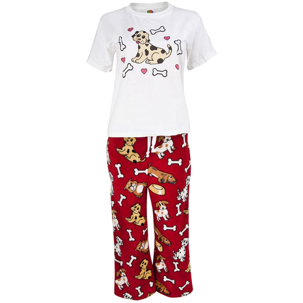 Dog With Hearts and Bones Kids Pajama Set