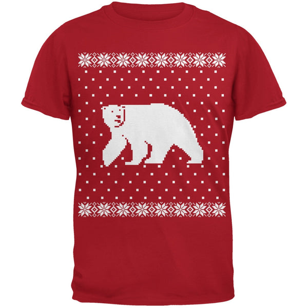 Big Polar Bear Ugly Christmas Sweater Black Youth T-Shirt