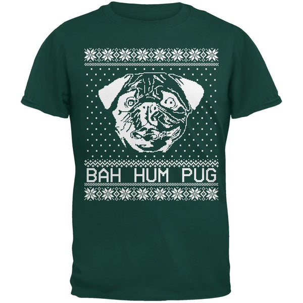 Bah Hum Pug Ugly Christmas Sweater Black Youth T-Shirt