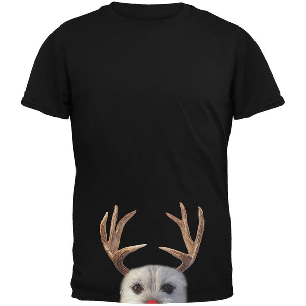 Peeking Funny Reindeer Dog Black Youth T-Shirt
